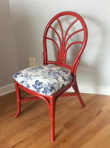 Vintage Upcycled upholstered painted red bentwood chair
