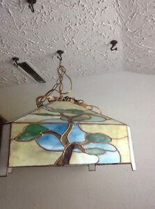 Hand Made Square stained glass hanging lamp.Oriental design 225$