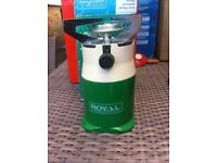 New Royal camping stove with box and gas