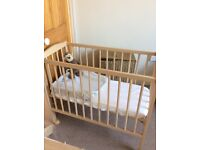 Baby bedside crib cot for sale with mattress and bedsheet