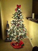Pre-lit Christmas tree.