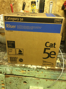 Box of Cat 5e Network Cable and Crimping Tool