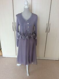 Stunning silk dress and cardigan with silk trim by Out of Xile - NEW, ideal for special occasion.