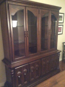 """Dining Hutch 68"""" Solid Wood 3 shelves, upper and lower (base)"""