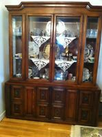 Hutch, large table and 6 chairs real oak