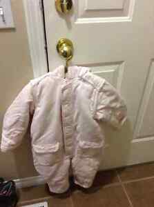 Girl winter snowsuit size 18-24m in light pink colour