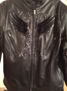 New Ladies leather jacket with black embroidery