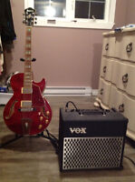 Ibanez guitar and amp with stand