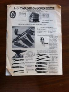 L.S. TARSHIS & SONS LTD. 1958 Price Guide Blacksmith Tools