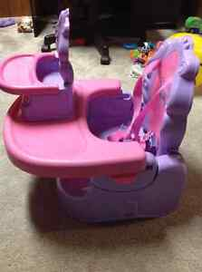 Portable pink high chair + toy doll high chair London Ontario image 2