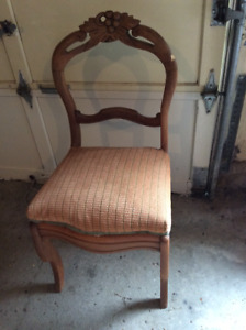 antique upholstered occasional dining chair.