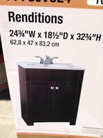 Bathroom cabinet with faux marble counter top