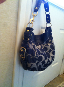 Navy Blue Fabric and Leather Coach Bag