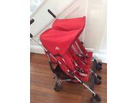 MacLaren red double pushchair stroller buggy