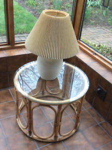 Vintage Rattan Side Table with Glass tabletop 1980s + Lamp