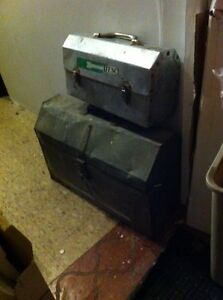 Metal old antique tool box and old lunch buckety Windsor Region Ontario image 1