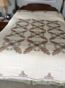 Hand made quilt Cross Stitch embroidery oak leaves and acorns.