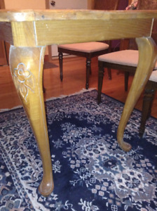 Antique White Ash Dining Table w/ Engraved Cabriole Legs
