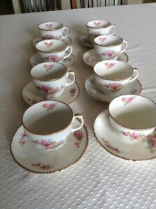 Eight alpine white ironstone cups and saucers
