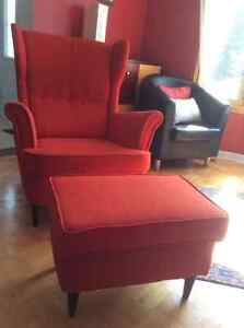 Very comfortable Wing chair with foot stool, almost new
