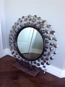 Beautiful Steel Mirror with Wood contour