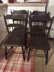 Antique chicken coop wooden chairs - set o 4