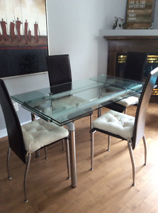 Class dinning table w 4 chairs included.