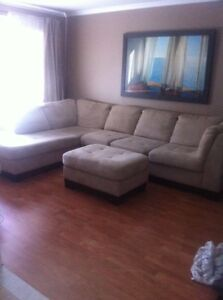 Micro suede Beige Sectional - Excellent Condition