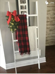 Rustic White Blanket Ladder with Christmas Greenery and Lights London Ontario image 5
