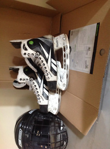 Patin et casque d'hockey