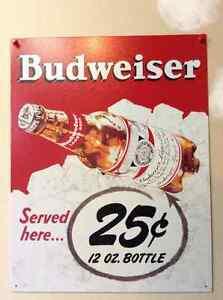 Pancarte de métal Budweiser style vintage