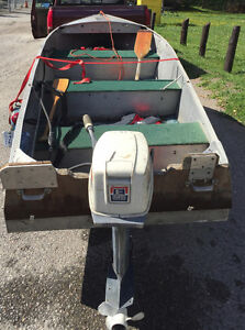 14' aluminum boat and tee-nee trailer with 1976 - 15 hp evinrude Kawartha Lakes Peterborough Area image 2