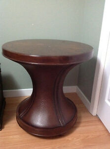 Leather and wood table
