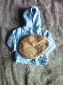 Boys baby blue knitted sweater and hat $10