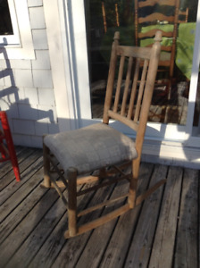 Antique Straight Chair and Rocker