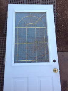 "Stanley Doors 23""x 37""  Elisabeth Brass Decorative Glass Insert"