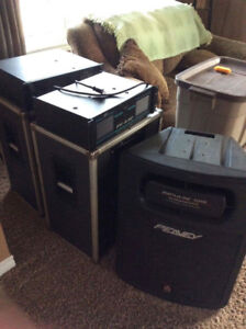 2 peavey amp, peavey subwoofer, 2 large traynor speakers