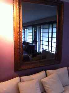 Antique hand carved frame and mirror
