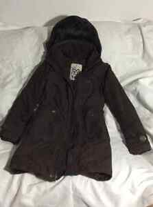 TNA Aritzia brown winter jacket size extra small XS