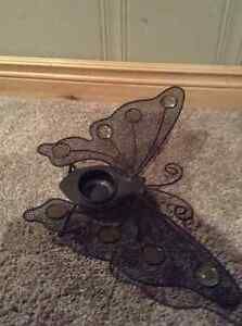 Metal butterfly tea candle holder