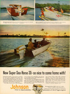 Large 1958 full page color ad for Johnson Outboard Motors