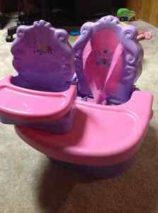 Portable pink high chair + toy doll high chair London Ontario image 1