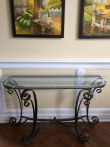 GLASS TOP HALL/SOFA TABLE