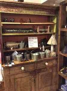 Antique - very old, flat to the wall hutch cabinet