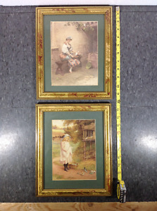 2 framed Victorian country prints