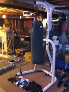 Boxing bag stand with bag
