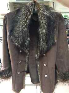 Ladies Faux Suede Jacket with Fur trim