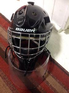 Jr goalie helmet with neck guard