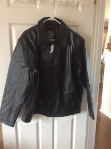 Mens BLACK LEATHER COAT  BRAND NEW!!!!!!!