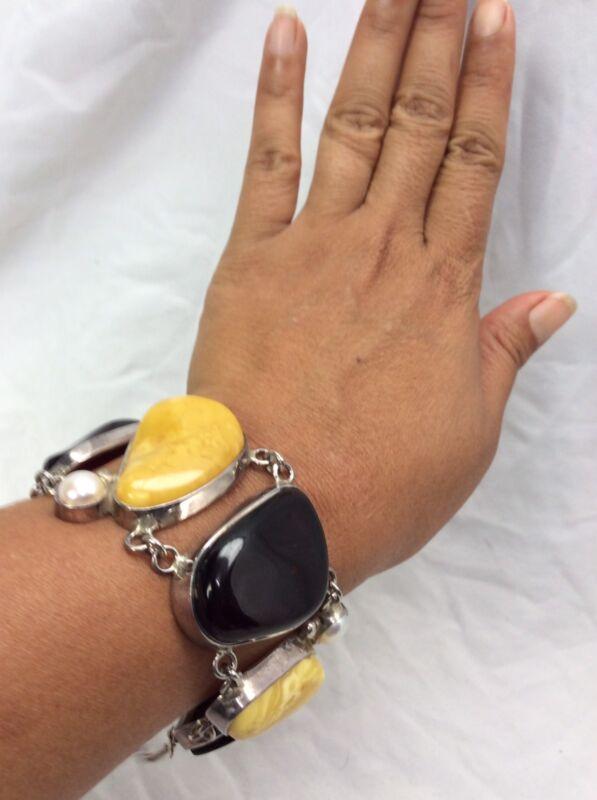 Beautiful Vtg Genuine Egg Yolk Amber Cherry Amber   Sterling 925 Bracelet